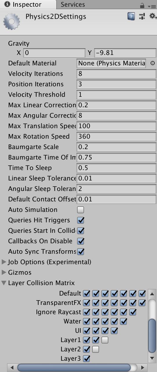 Physics2D settings